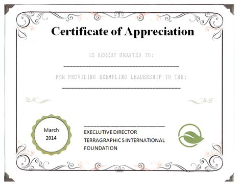 Leadership Certificate of Appreciation Template School - certificate of appreciation wordings