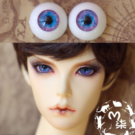 16MM light Purple with Lines Glass BJD Eyes For MSD DOD DZ AOD Volks Doll