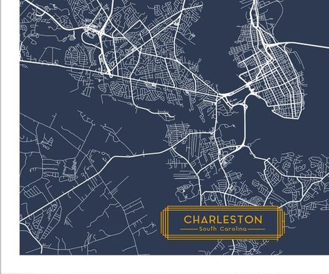 CHARLESTON South Carolina City Map Charleston SC Art Print ...