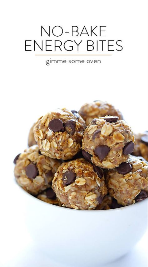 No-Bake Energy Bites -- quick and easy to make, naturally sweetened with honey, and SO delicious! Perfect for a quick breakfast, snack, or even a healthy dessert. Healthy Protein Snacks, Protein Bites, Healthy Treats, Healthy Desserts, Healthy Energy Bites, Frozen Desserts, Vegan Energy Balls, High Protein Desserts, Healthy Foods