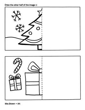 A Half Drawn Coloring Sheet For Your Students To Complete The Drawing And Enjoy Christmas Coloring Sheets Half Christmas Christmas Colors