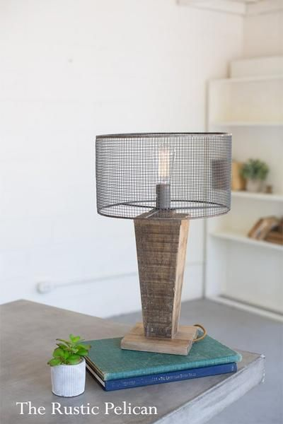 Sale Modern Farmhouse Table Lamp With Mesh Shade And Reclaimed Wood Base Industrial Table Lamp Stylish Rustic Ho Farmhouse Table Lamps Modern Farmhouse Table