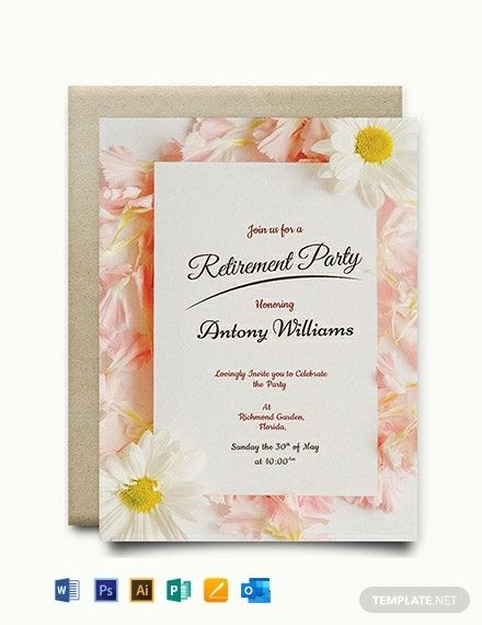 Instantly Download Free Floral Retirement Party Invitation Template Sample Example In 2020 Party Invite Template Retirement Invitation Template Invitation Template