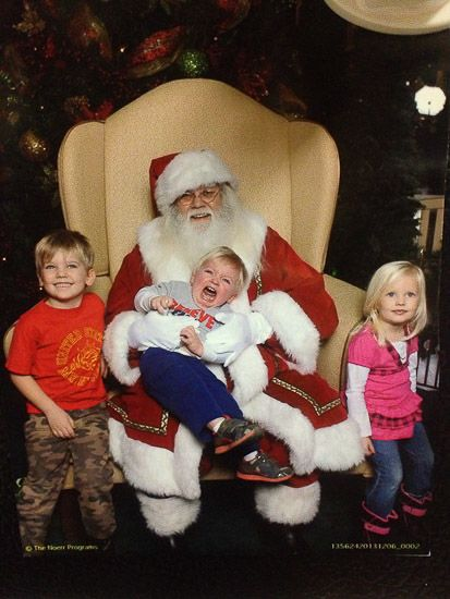 50 Funny Pictures Of Kids With Santa With Images Funny