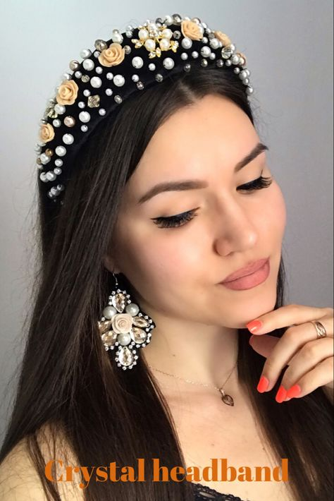 Black crystal headband hairstyles, fashion accessories for women