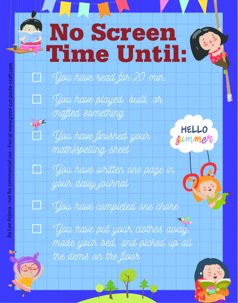 No screen time until...free printable poster www.print-cut-paste-craft.com
