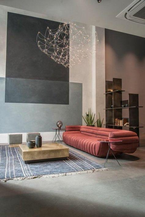 Modernes Wohnen Ausgefallenes Rotes Sofa Und Niedriger Kaffeetisch  #livingroommodern