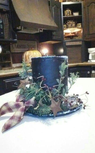 Coffee can snowman hat brim is 3 styraform plates glued together.
