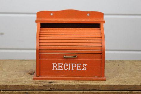 Awe Inspiring Vintage Orange Wood Recipe Box With Roll Top Lid 3X5 Recipe Machost Co Dining Chair Design Ideas Machostcouk