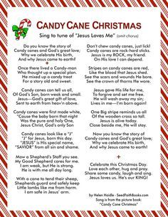 Free printable - Candy Cane Christmas Song to the tune of