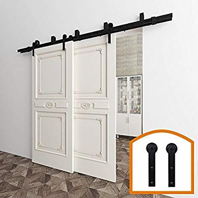 Amazon Com Zekoo 5 16 Ft Bypass Barn Door Hardware Double Door Kit Rustic Black Steel Metal Rail Roller S Bypass Barn Door Barn Door Bypass Barn Door Hardware