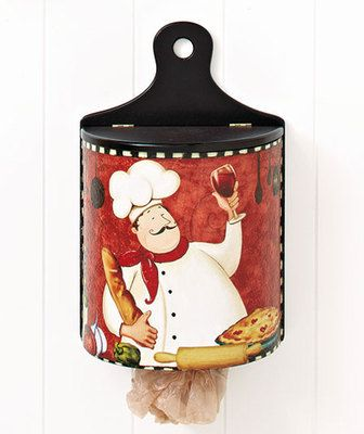 Fat Chef Italian Bistro Wooden Wall Mount Plastic Bag Dispenser Kitchen  Decor