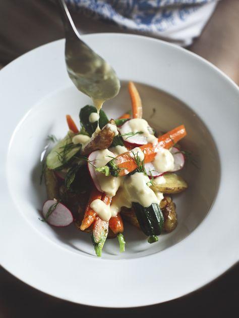 roasted potatoes and marinated summer vegetables with lemon aioli
