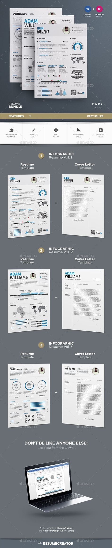 infographic resume bundle clean resume bundle cover letter creative template curriculum vitae cv 12
