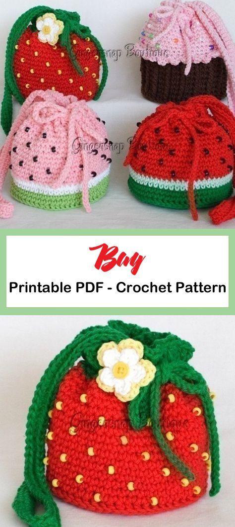 20 Bag Crochet Patterns - Cute and Colorful - A More Crafty Life - taschen beutel rukki - Mochila Crochet, Bag Crochet, Crochet Market Bag, Crochet Food, Crochet Purses, Crochet Gifts, Crochet Baby, Crochet Cupcake Hat, Crochet Owls