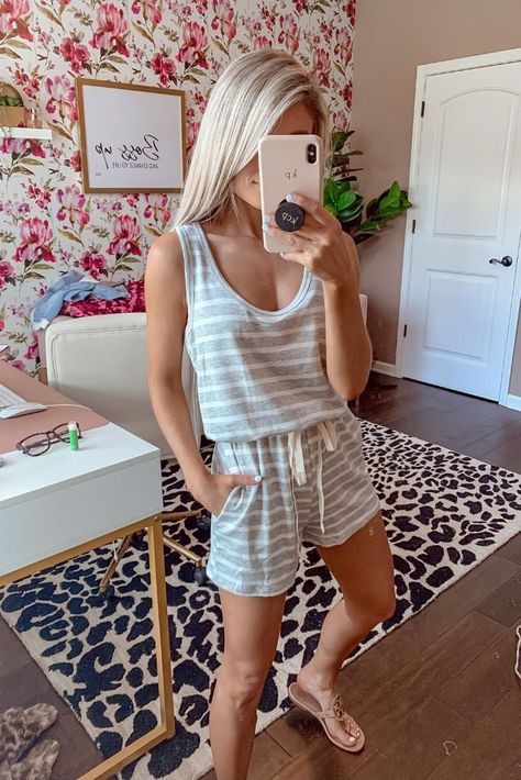The most #cozy #romper ever! This #greystripedromper is so #perfect for #workfromhomeoutfits, just #style with some #slideonsandals and a #goldnecklace!  #letsbepriceless #WFHoutfits #ootd #stylingtips #springfashion #springoutfit #womensfashion #womensoutfits #outfitideas #stylinginspo #casualoutfit #springtrends #comfyoutfit #stayathome #summerdatenight #fashioninspo #trendyoutfits #sundress