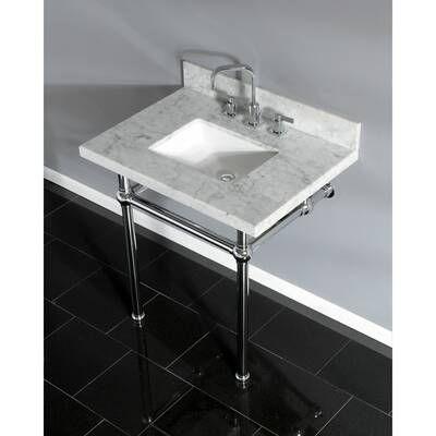 Carrara Marble 30 Single Bathroom Vanity Set Single Bathroom