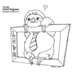 Sloth Of Love Lineart By Jadedragonne Valentine Coloring Pages Valentine Coloring Colorful Drawings