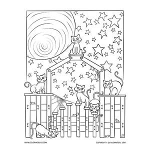 Night Cats Under The Stars Star Coloring Pages Coloring Pages Cats