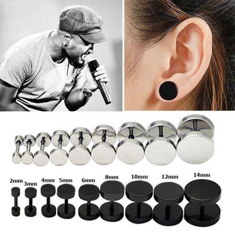 1 piece punk earrings double sided round bolt stud earrings male gothic barbell black earrings men women jewelry gifts