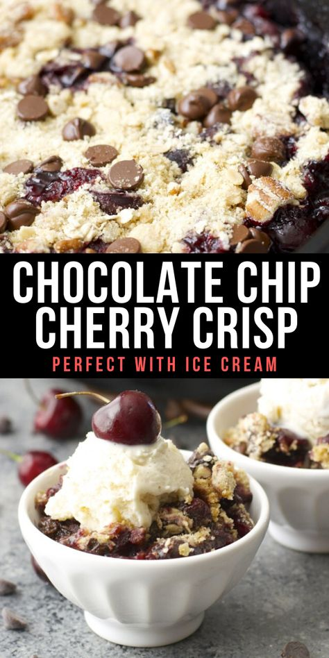 This Chocolate Covered Cherry Crisp is the ultimate Summer treat! Fresh cherries are topped with a chocolate chip oatmeal cookie crumb topping!  #summer #cherry #fruit