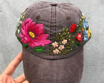 Hand Embroidered Baseball Hat For Women Custom Embroidered Flowers Baseball Cap For Women Birthday Gift For Mom Personalized Gift Fot Her In 2020 Custom Embroidered Hats Embroidered Hats Hand Embroidered