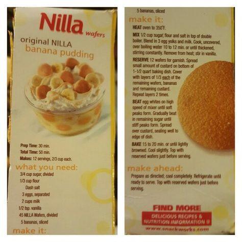 Original Nilla Wafer Banana Pudding From Nabisco Box Vanilla Wafer Banana Pudding Nilla Wafer Banana Pudding Banana Pudding Recipes