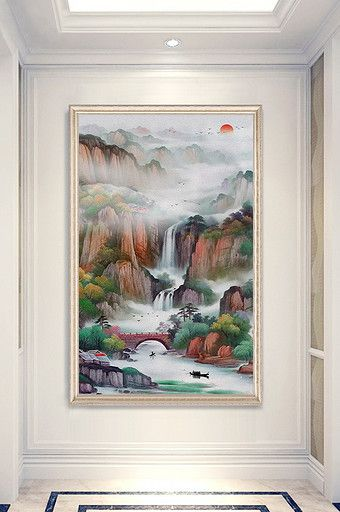 Chinese Style Rising Sun Dongsheng Liushuishengcai Landscape Painting Oil Painting Porch Decoration Painting Oil Painting Landscape Landscape Paintings
