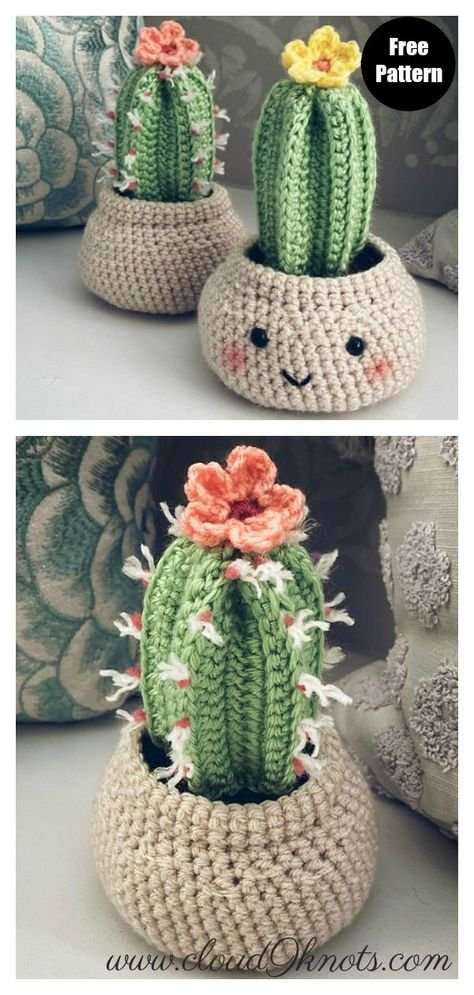 Desert Cactus Amigurumi Crochet Patterns - Look Surprisingly Real - - Do you want to have some beautiful cactus which never needs watering and never dies? You can crochet some with Desert Cactus Amigurumi Crochet Patterns. Crochet Flower Patterns, Crochet Patterns Amigurumi, Crochet Flowers, Crochet Ideas, Cat Amigurumi, Cactus En Crochet, Crochet Cactus Free Pattern, Cute Crochet, Knit Crochet