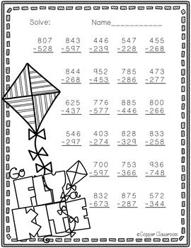 3 Nbt 2 Spring Themed 3 Digit Subtraction With Regrouping Math Worksheets Spring Math Worksheets Subtraction