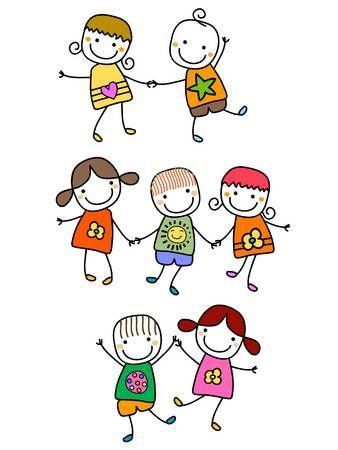 Felici I Bambini Giocare Disegno Figura Stilizzata Tatuaggi Bambini Disegni Bambini