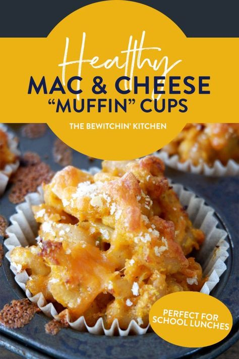 These healthy mac and cheese muffin cups are perfect for school lunches or a weekday twist on macaroni and cheese. Baked in a muffin liner makes this easy dinner a breeze to clean up.