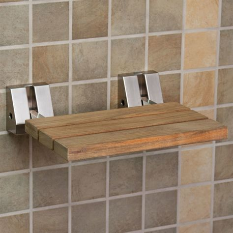 pleasing idea of Teak Shower Seat with brown wooden seat on ...
