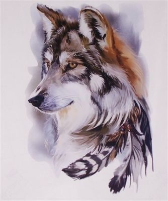 Indian Feather Wolf Full Color Graphic Window Decal Stick