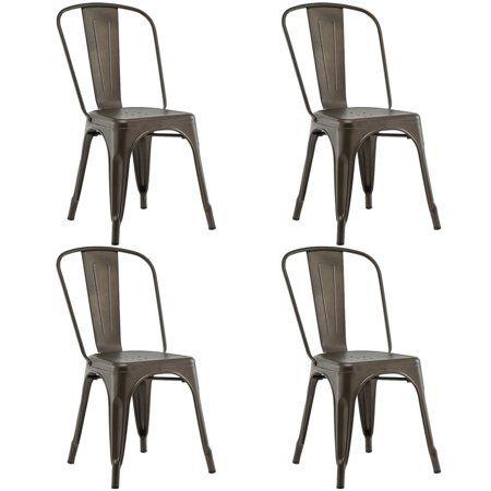 Costway Set Of 4 Dining Side Chair Stackable Bistro Cafe Metal Stool Vintage Walmart Com Side Chairs Dining Metal Chairs Kitchen Side Chairs