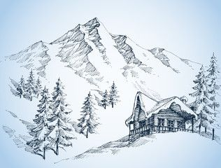 Nature In The Mountains Sketch Winter Landscape And Winter Holi Landscape Sketch Landscape Drawings Mountain Sketch