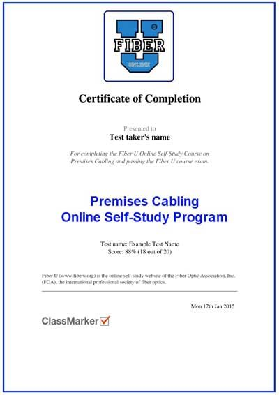 Basic Fiber Optics, Online Course With Certificate of Completion - example of certificate of completion