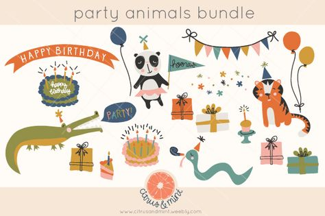 birthday party animals clip art by Citrus and Mint on Creative Market
