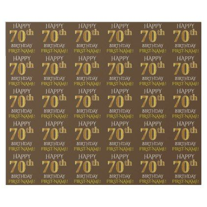 Brown Faux Gold HAPPY 70th BIRTHDAY Wrapping Paper