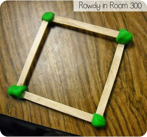 shape talk: vertices and sides with popsicle sticks and play dough
