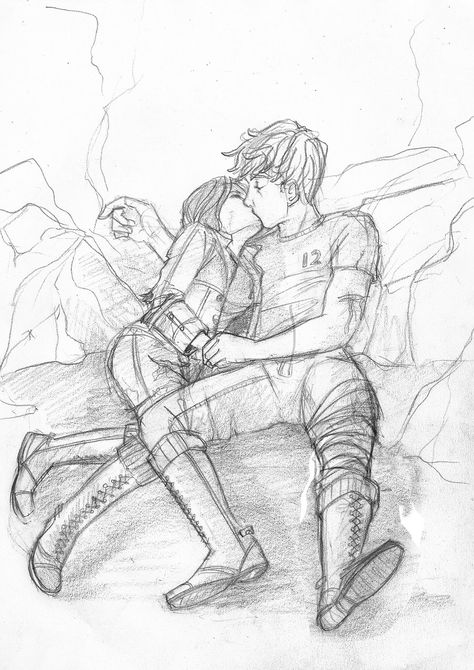 Hunger Games fanart: Peeta and Katniss in the cave.