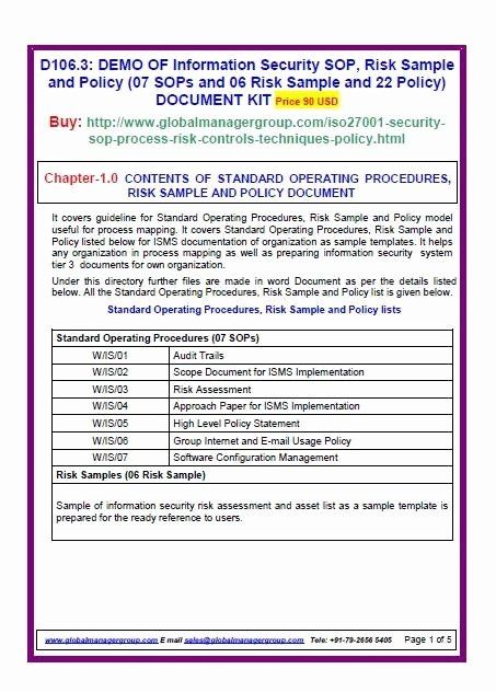 Information Security Policies Templates Unique Iso Information Security Templates Policy Template Standard Operating Procedure Template Financial Plan Template