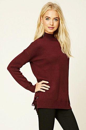 e355e80602 Lace-Up Mock Neck Sweater