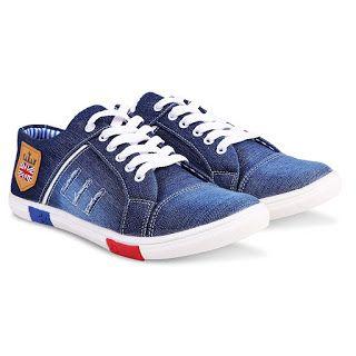 1.Zovim Men's Denim Jeans Sneakers Casual Shoes Blue Sole