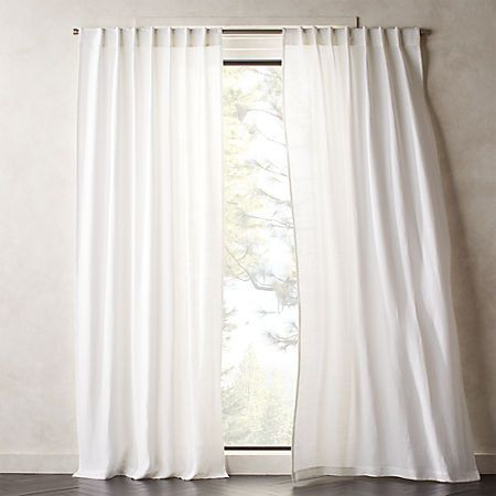 Heavyweight Silver Grey Linen Curtain Panel White Linen Curtains
