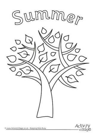 Summer Tree Colouring Page  Summer coloring pages, Tree coloring