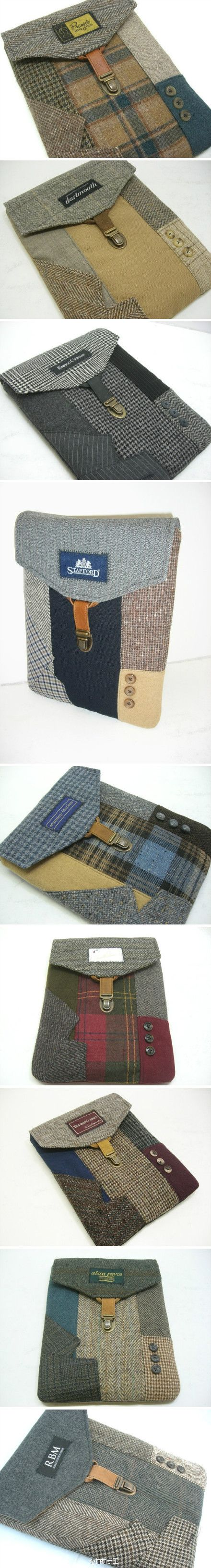 Suit plaids ipad cases .. think made in china. ...nice idea & textile use for old or thrift shop jackets