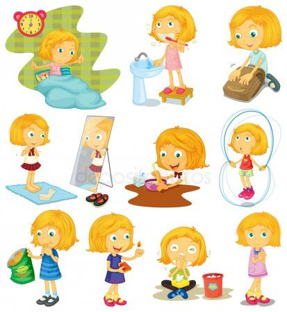 Descargar Rutina Diaria De Una Nina Ilustracion De Stock Rutina Diaria De Ninos Rutina Diaria Tabla De Rutina Ninos