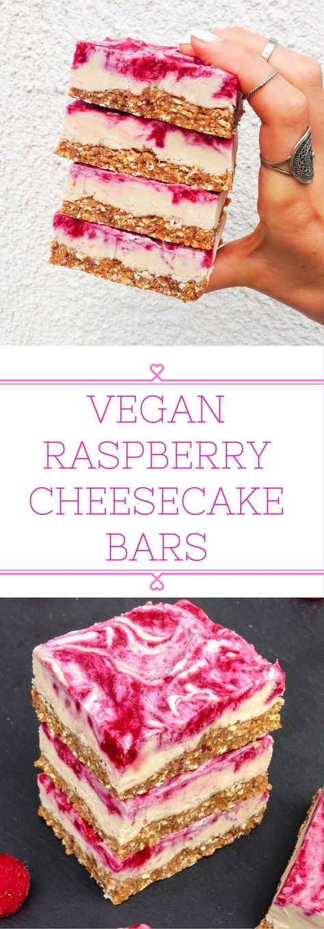 Vegan raspberry cheesecake bars that can be stored in the fridge for weeks! Simple and healthy ingredients.   choosingchia.com
