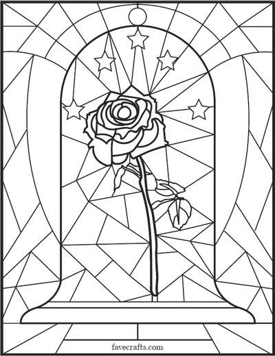 Stained Glass Rose Coloring Page Rose Coloring Pages Disney